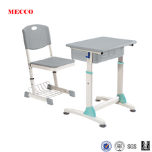 Simple design adjustable reading table with attached classroom chair