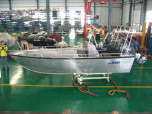 Small welded Aluminium work boat with outboard engine for sale