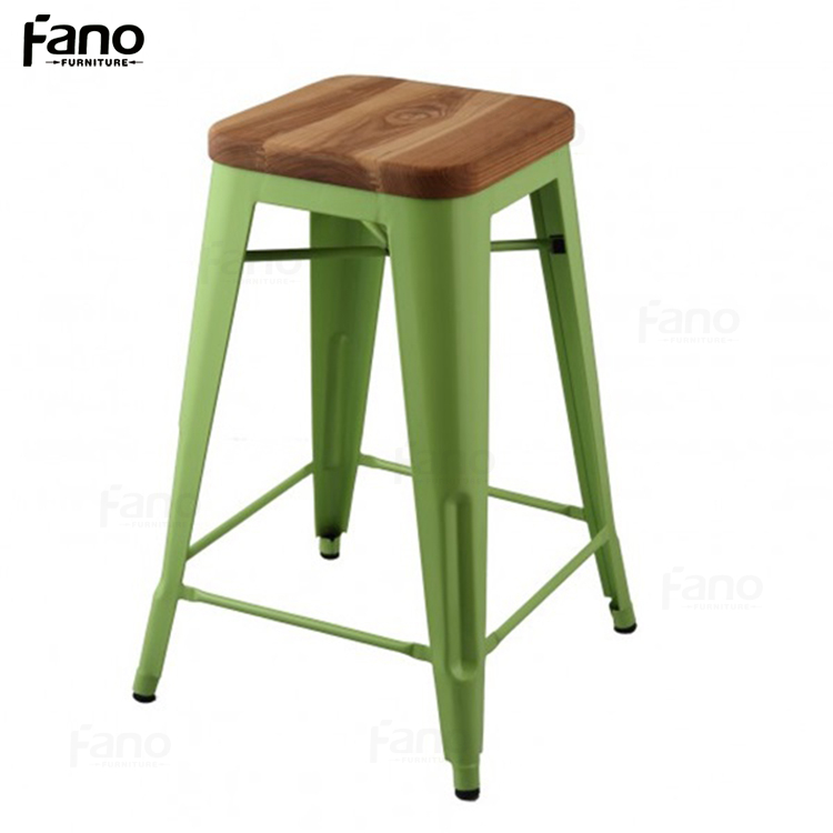 colourful metal frame garden bar stool with wooden seat