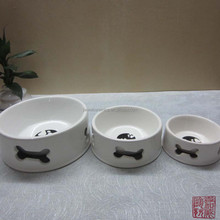 Wholesale White Ceramic Dog Bowl with Bone Design Set of 3