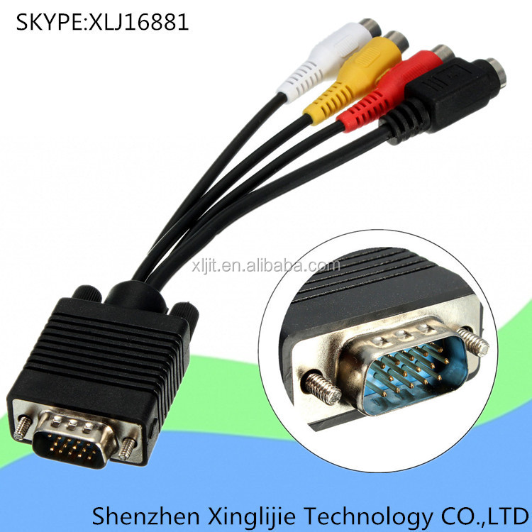 vga male to s video 3 rca av adapter converter video cable. Black Bedroom Furniture Sets. Home Design Ideas