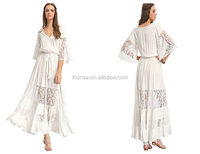 Women Bare Breast Dress Maxi Bohemian Drawstring Waist Splicing White Long Lace Dress Vintage Wedding Bridesmaid Dress Gowns