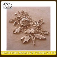 Natural Marble Stone Carved Stone Wall Relief Flower Sculpture