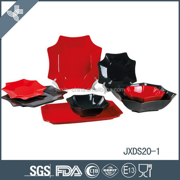 20pcs porcelain square dinner set, plate set, red and black mix color set