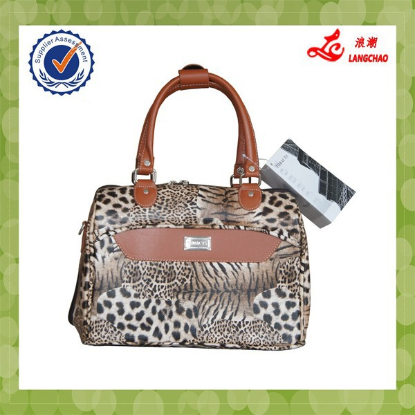 2015 fashion pu leather luggage handbag for lady
