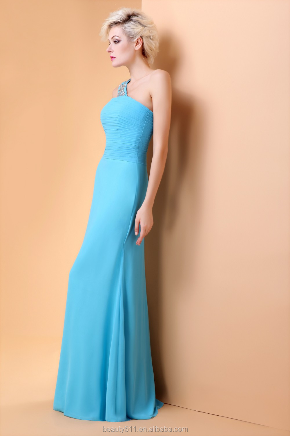 sexy strapless cocktail party dress One-shoulder designer evening dress patterns prom dress evening gown DE28