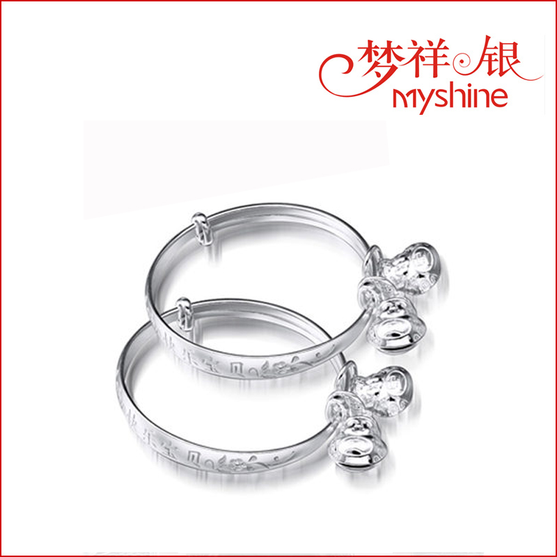 MYSHINE kids most popular 925 sterling silver bracelet bell bangles