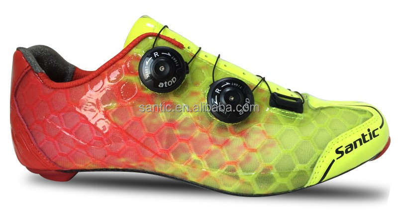 2017 OEM new road cycling shoes yellow with atop reel knob