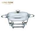 Luxury 6L Food Warmers Buffet Iron Stand Dish Chafing With Glass Lid