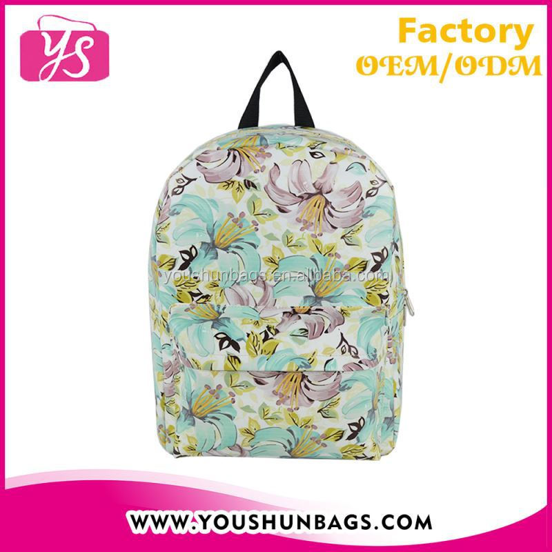 fashion fake leather digital printed retro girl backpack