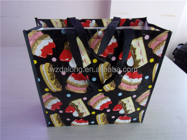 cake printing high quality large size durable pp woven shopping bag