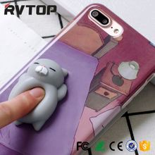 Factory Wholesale 3D Kneading Pinch Custom Design seal Squishy Silicone Animal Cartoon Mobile Cell Phone Case For iphone 7 6