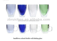 customized handmade clear and colored borosilicate double wall glass cup