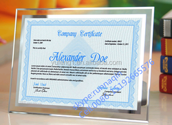 Glass crystal frameless glass certificate poster frame