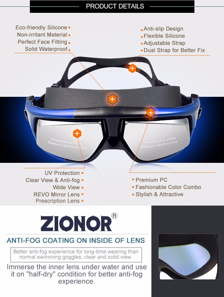 ZIONOR G3 Prescription Swimming Goggles Anti-fog Silicone For Adults Men Women and Kids - Clear & Tinted
