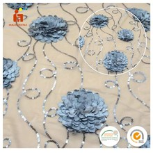 Latest fashion african lace tape cord embroidery sequin embroidered tulle fabric for dresses