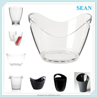 Factory wholesales barware one wall two side handles frosted plastic PS vodka beer ice bucket