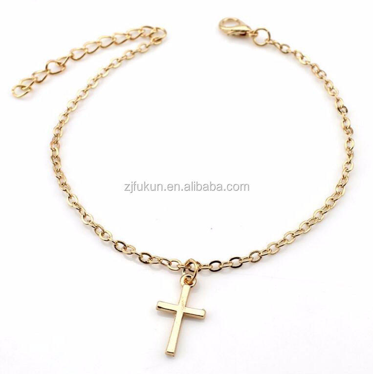 newest personality cross charm alloy chain slave anklets