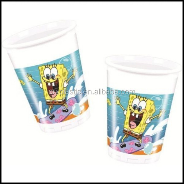 SpongeBob Surfing 8oz PLASTIC CUPS 200ml party cup for decoration birthday/oem plastic party disposable drinking cup for sale
