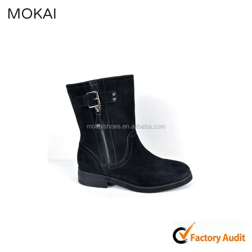 Cow suede balck citi trends boots boots for girls security guard boots