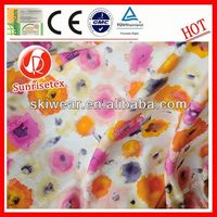 2015 wholesale new design printed silk chiffon fabric with flower pattern