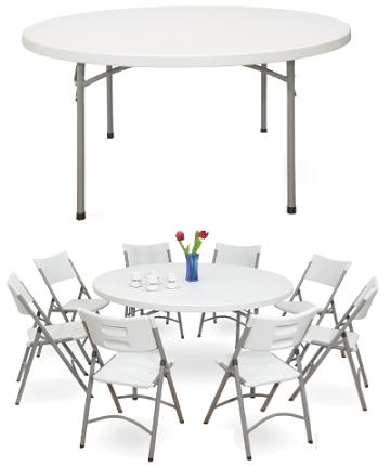 Hot sale 5FT plastic round folding in half table for banquet/picnic/camping/dining/garden