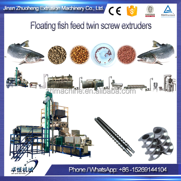 floating fish feed twin screw extruders