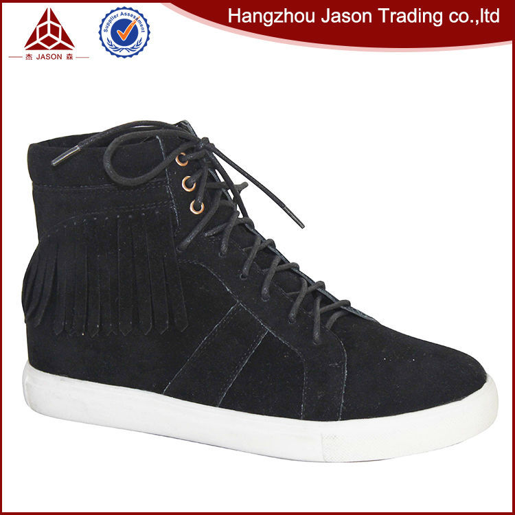 Hot Selling Cheap Custom Women Shoe Size 43 Black Spring Autumn Suede Leather High Top Women Lace Up Trainers Runner Sneaker