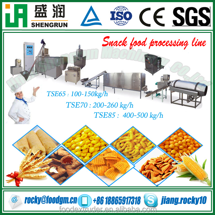 cereal puffed snacks foods production extruding machine