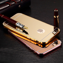 Luxury aluminum ultra-thin PC mirror metal bumper mobile cell phone cover for iPhone 5 6 6s 7 plus case for Samsung S6 S7 edge