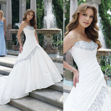 WD0317 off the shoulder strapless dropped waist ball skirt long train luxury jewel neckline wedding dresses