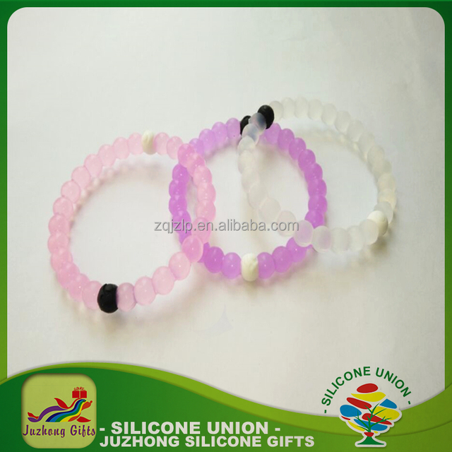 Top quality jewelry pure transparent silicone bead bracelet for ion power