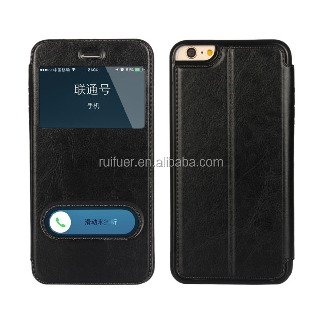 Manufacturer Wholesale Luxury Smart Front Window View Flip Leather Case for Iphone 6 Plus 5.5