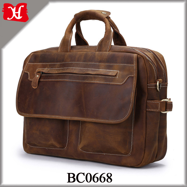 Wholesale Custom Mens Leather Bags Brown Vintage Leather Briefcase
