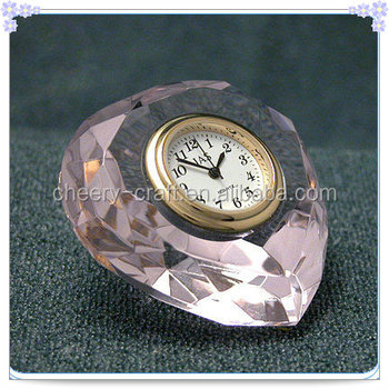 Romantic Pink Crystal Heart Clock For Wedding Gifts