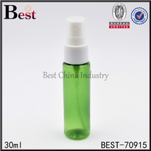 wholesale cosmetic toner fragrance perfume light green PET 30ml biodegradable plastic spray bottle