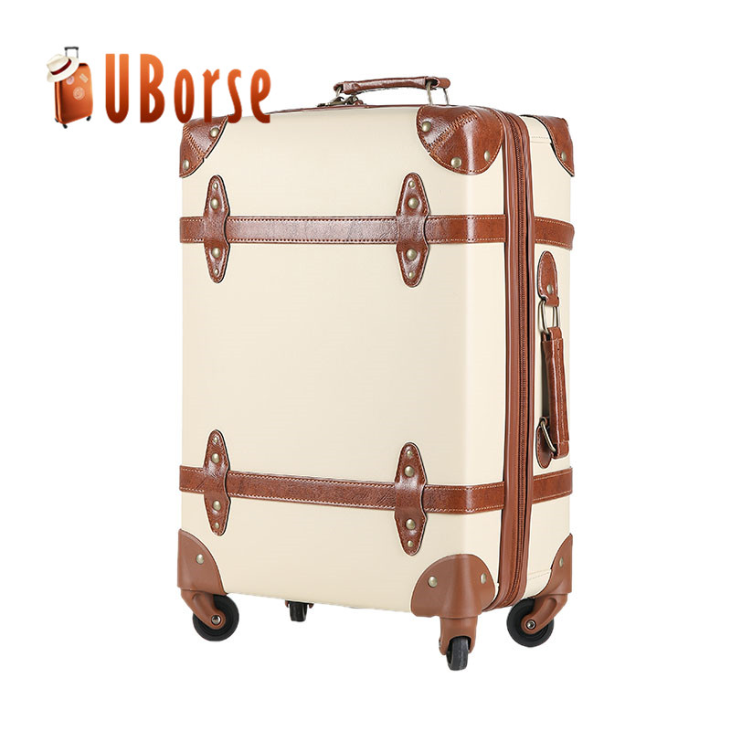 Uborse PU PVC vintage style carry on luggage bags cases / vintage suitcases luggage