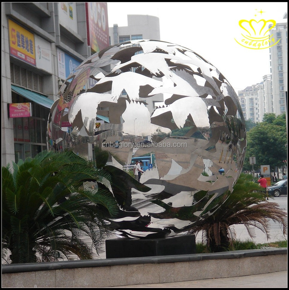 Garden view large stainless steel hollow ball sculpture architectural decoration ball