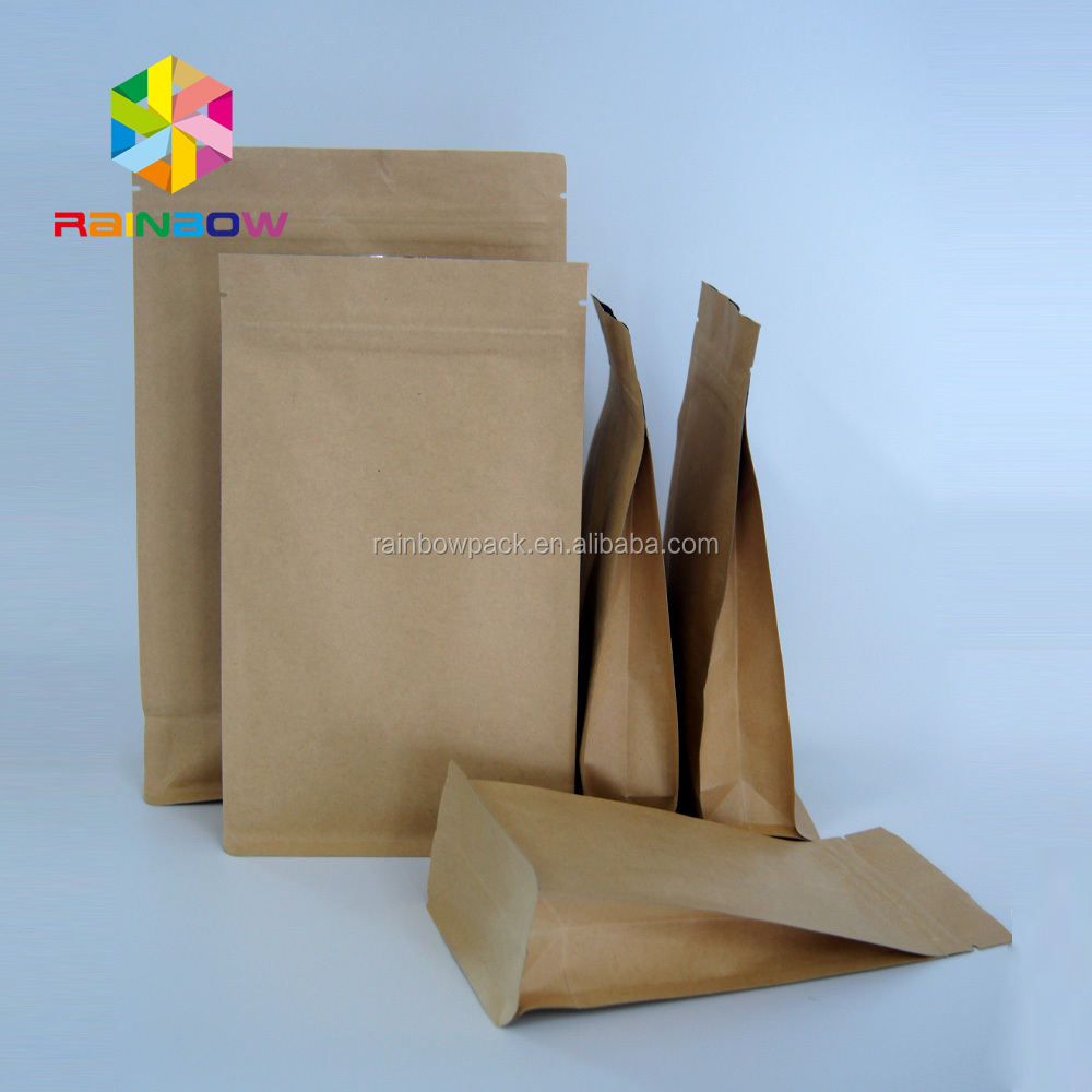 doypack kraft/coffee packaging paper bags with one way valve, tin tie and zip lock