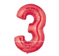 Red Number 3 Balloon, 100 pcs/lot, Free Shipping
