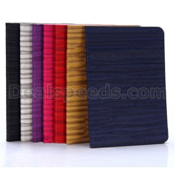 Wood Grain Pattern Embossed Card Slots Style Flip Stand PC + PU Leather Case for iPad Air 2 (iPad 6)