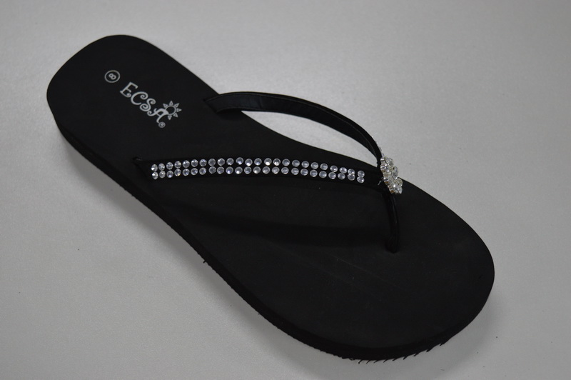 Solid Black Design Cheap Wholesale Women Wedge Flip Flops