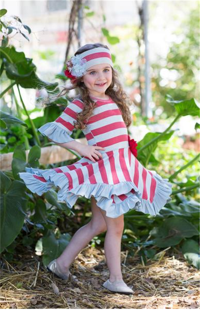 Red and gray stripes girl dress falbala skirt's hemline 2017 latest fashion top design