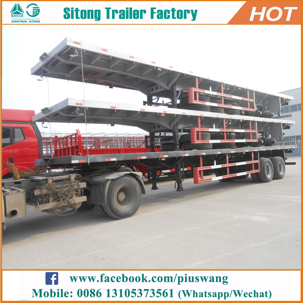 Inexpensive 20ft 40ft flat bed semi-trailer high quality truck and flatbed trailer for sale