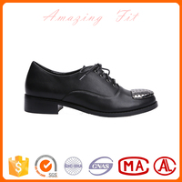 Black gents style women causal shoes lace-up ankle falt metal toe shoes with high quality