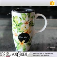 Fine Bone China Floral 22oz Porcelain Tea Cup Ceramic Coffee Mug With Lid