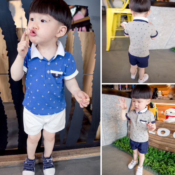 MS70279B Two pieces little boys clothing sets fashion polo t-shirts and hot shorts boys cotton clothing sets