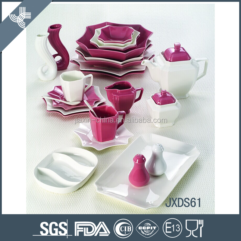 61PCS Color Mixing Porcelain Dinner Set, Eight Side Dinner set, white porcelain