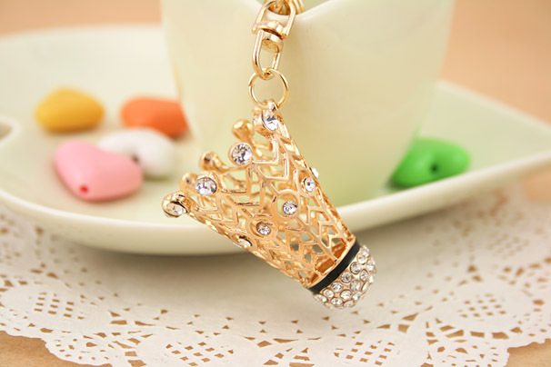High quality gold High 3D Crystal Badminton keychain sport key chain YS492 030