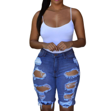 2019 Wholesale Cheap Blue Destroyed Bermuda Denim Jeans Shorts For Women